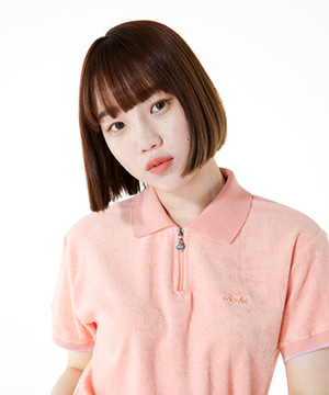 TOWEL FABRIC ZIP UP COLLAR TEE [CORAL]