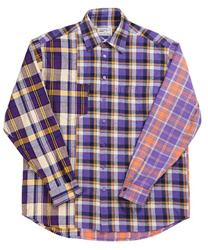 COLOR BLOCK CHECK OVERSIZED SHIRTS [PURPLE]