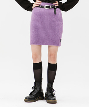 KNITTED SLIM MINI SKIRT [PURPLE]