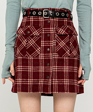 RNHI SNAP FLY CHECK MINI SKIRT [RED WINE]
