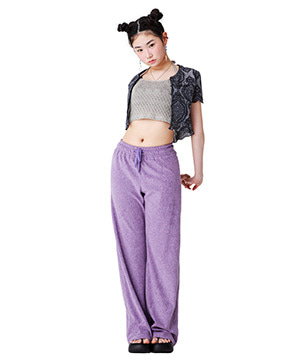 TOWEL FABRIC BANDED SWEAT PANTS [PURPLE]