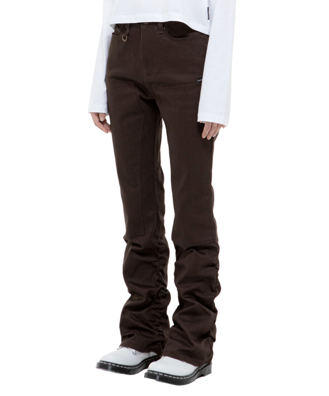 SHIRRING BOOTS CUT PANTS [BROWN]