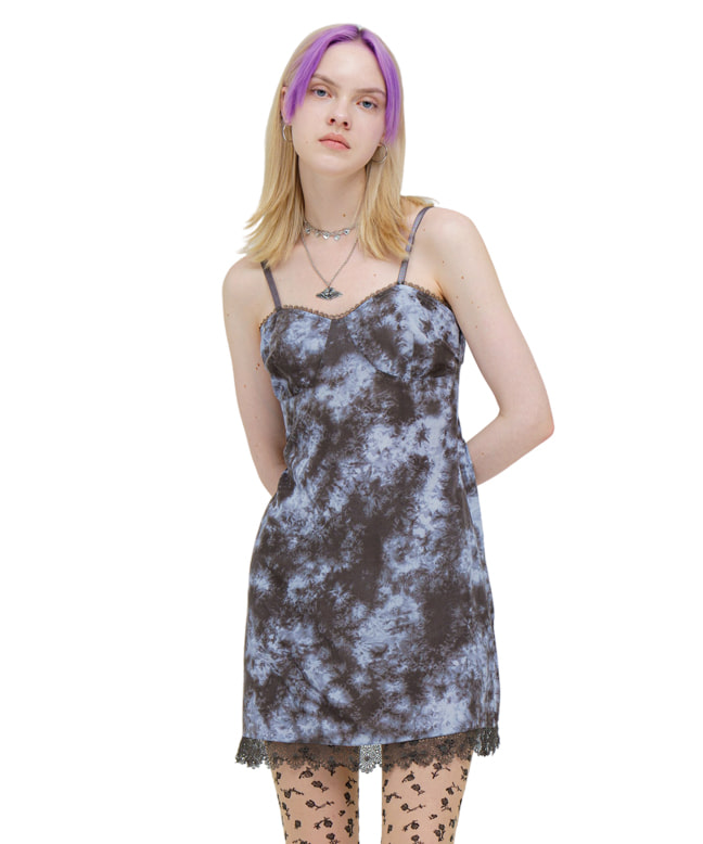 LACE POINT DYED MINI DRESS [BLUE CHARCOAL]