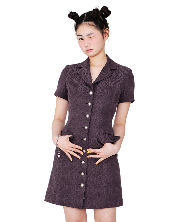 FLOWER-CHAIN JACQUARD BLAZER DRESS [DARK PURPLE]