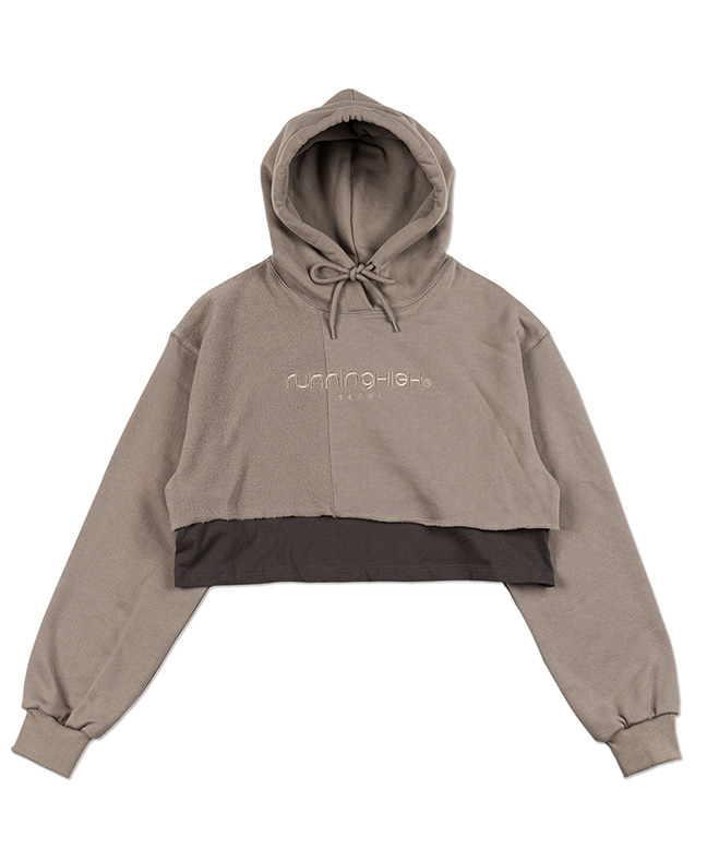 PATCH WORK LAYERED CROP HOODIE [KHAKI]