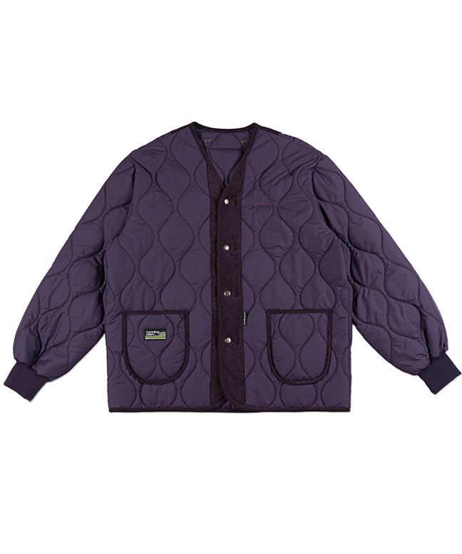 CORDUROY MIXED QUILTING PARKA [PURPLE]