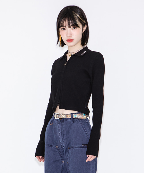 RNHI COLLAR ZIP UP SLIM TOP [BLACK]
