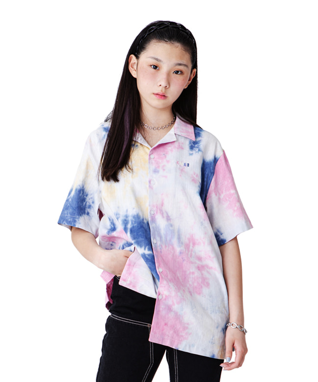 COLOR EMBROIDERY TIE-DYE LINEN SHIRTS [WHITE MULTI]
