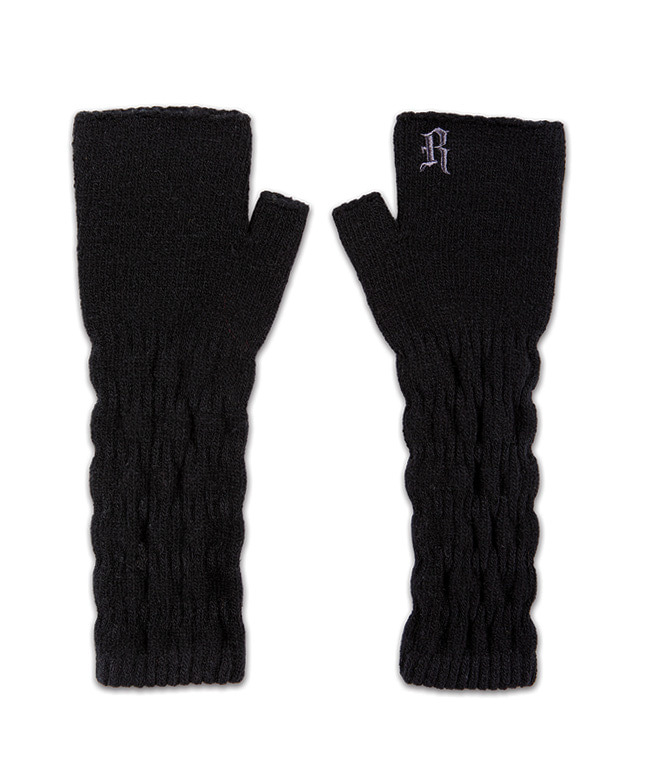 CABLE KNITTED HAND WARMER [BLACK]