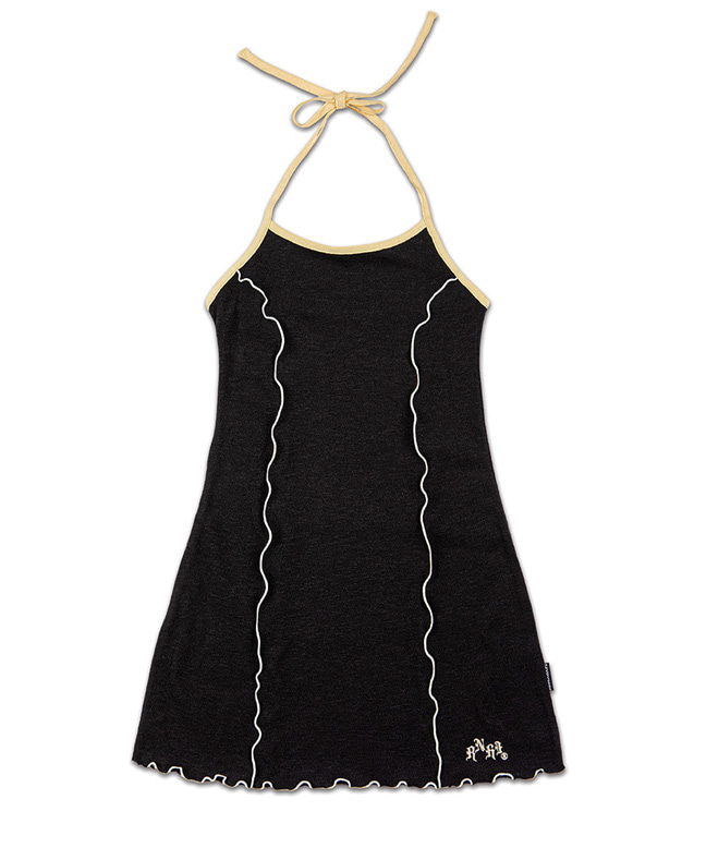 MELANGE KNITTED HALTER NECK SHIRRING DRESS [BLACK]