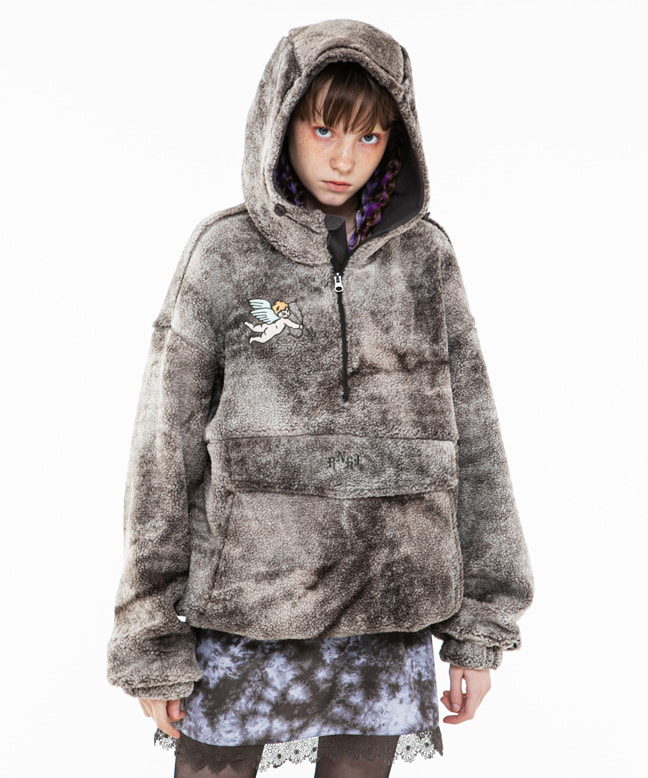 ANGEL EMBROIDERY DYED FUR ANORAK PARKA [CHARCOAL]