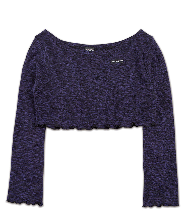 MELANGE KNITTED WIDE NECK CROP TOP [PURPLE]