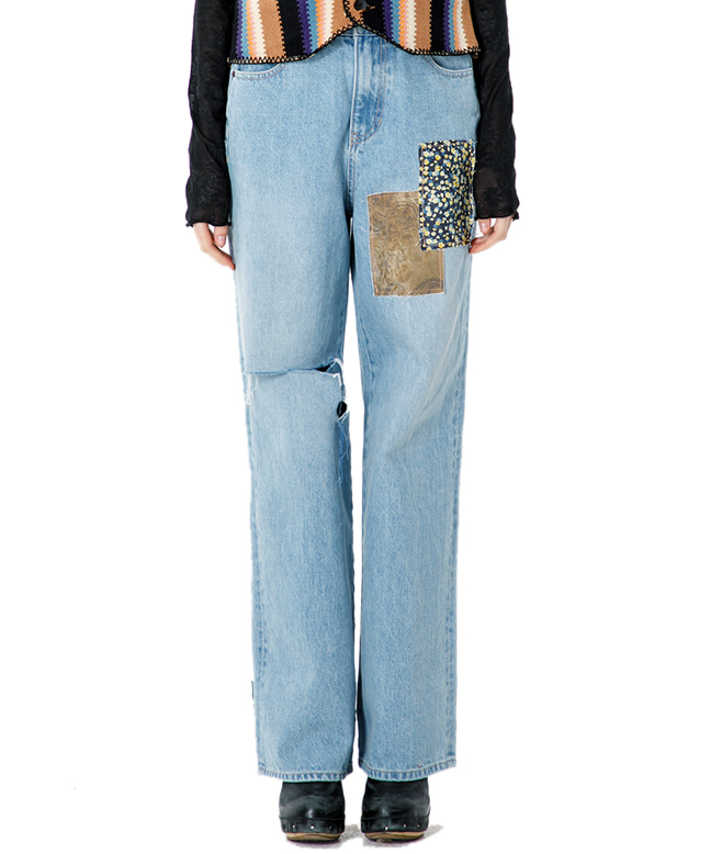VINTAGE MOOD PATCHED DENIM PANTS [BLUE]