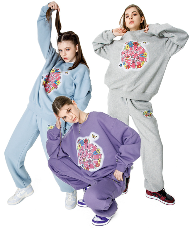 [SET] FLOWER LOGO SWEAT SHIRT + PANTS SET [3 COLORS]