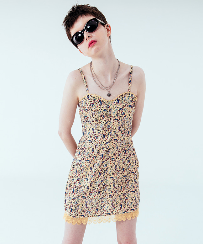 LACE POINT PATTERN MINI DRESS [YELLOW]