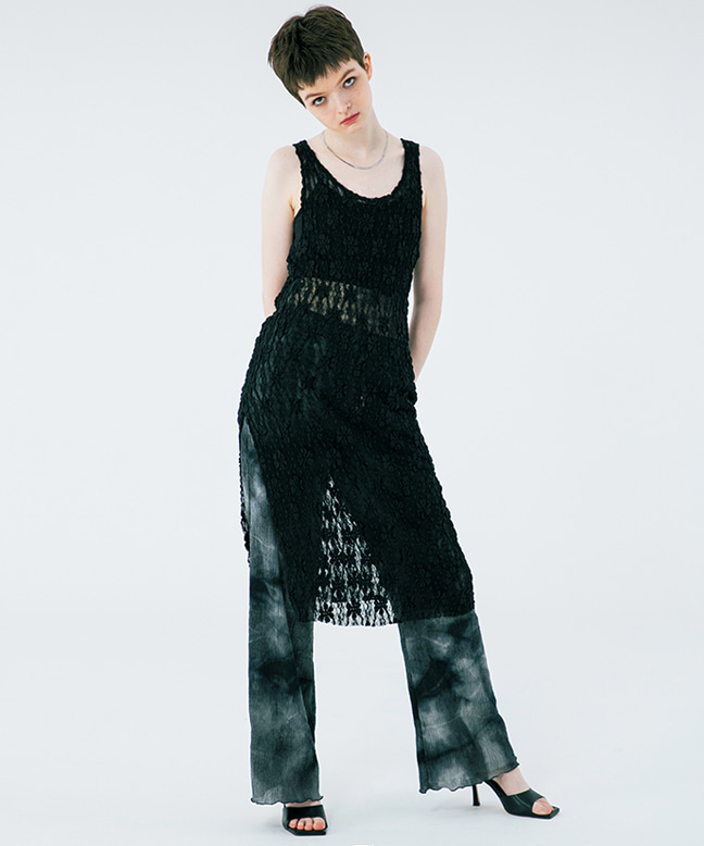 FLOWER PATTERN SEE-THROUGH SLIM LONG DRESS [BLACK]