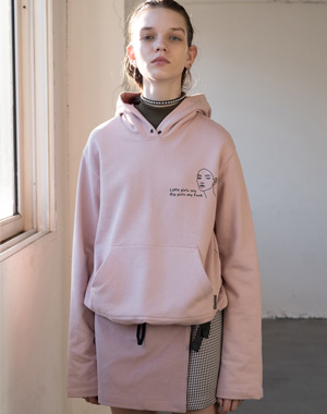 PULL-OVER HOOD SWEAT SHIRTS [PINK,NAVY]