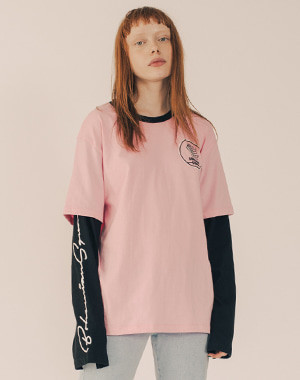 BOHEMIAN SQUAD LAYERED SLEEVE CUT&SEWN [PINK]