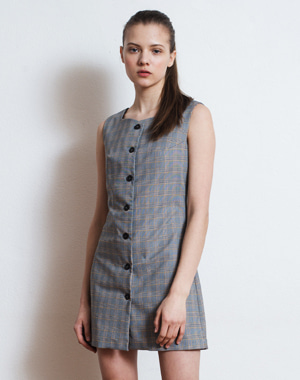 BUTTON FLY SLEEVELESS CHECK DRESS [GRAY]