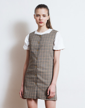 BUTTON FLY SLEEVELESS CHECK DRESS [BEIGE]