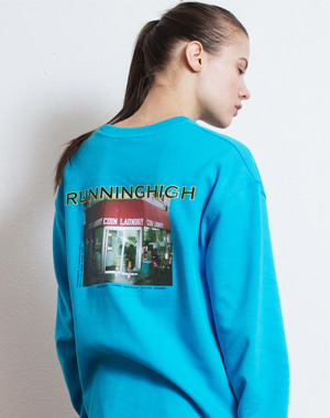 R LOGO PICTURE PRINTING SWEAT SHIRT [BLUE]