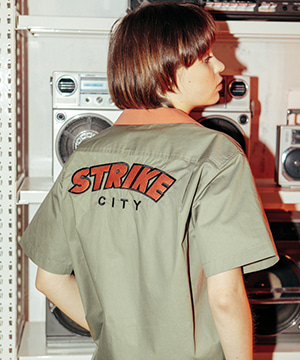 STRIKE CITY BOWLING SHIRT [KHAKI]