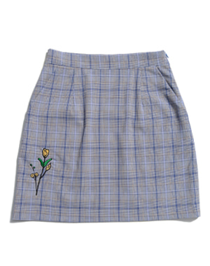 FLOWER EMBROIDERY CHECK SKIRT [BLUE]