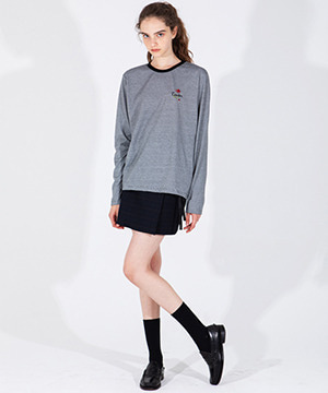 ROSE EMBROIDERY LONG SLEEVE TEE [BLACK]