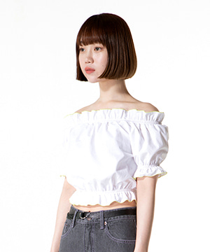 WAVY CROP LINEN BLOUSE [WHITE]