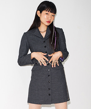 RNHI SLIM BLAZER DRESS [GREY]