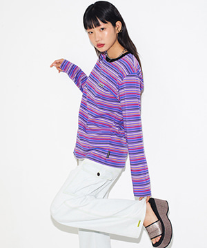 RAINBOW STRIPE L/S TEE [PURPLE]