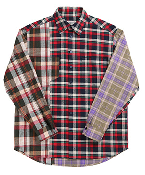 COLOR BLOCK CHECK OVERSIZED SHIRTS [KHAKI]