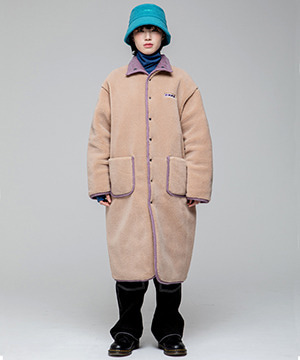REVERSIBLE BOA-QUILTING LONG PARKA [BEIGE/PURPLE]