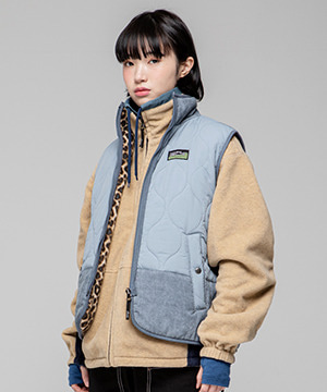 RETRO MOOD REVERSIBLE ZIP UP VEST [SKY BLUE]