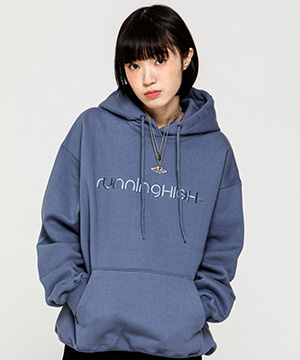 SHADOW LETTERING LOGO HOODIE [BLUE GRAY]