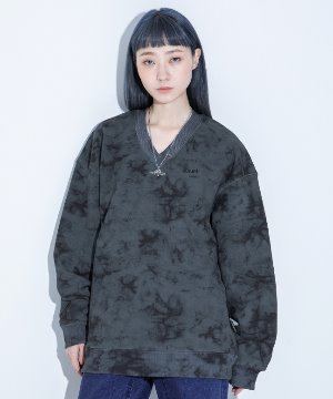 RNHI TIE-DYE V NECK SWEAT SHIRT [BLACK]