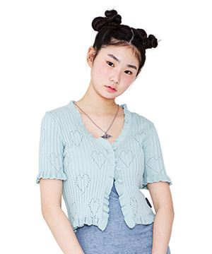 HEART PATTERN WAVY CARDIGAN [MINT]