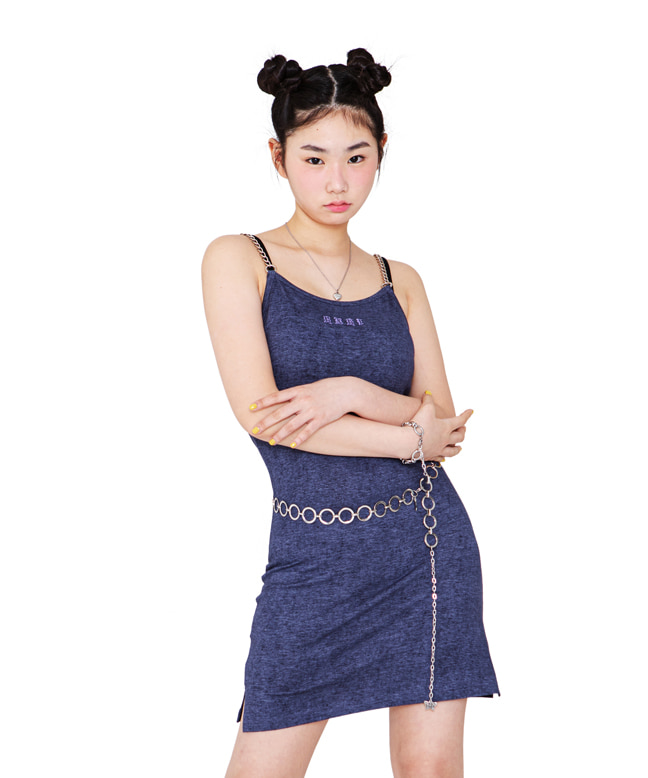 CHAIN POINT SLIM MINI DRESS [NAVY]