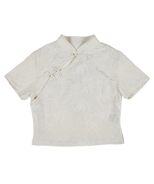 JACQUARD FABRIC SLIM QIPAO SHIRT [OFF WHITE]