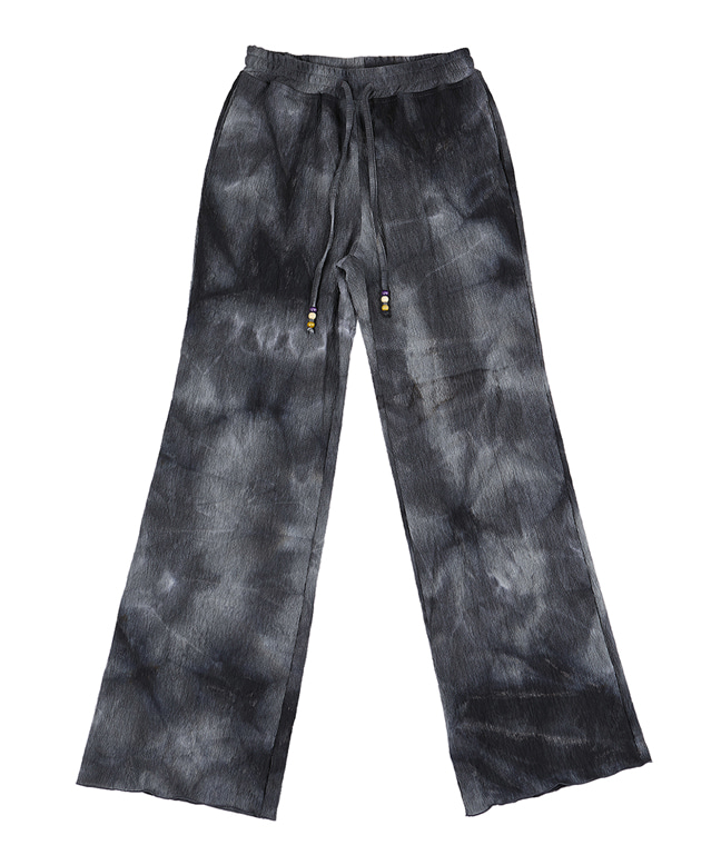 TIE DYE PLEATED WIDE PANTS [BLACK]