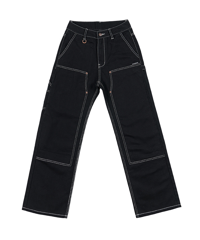 [9/17 예약배송] STITCH POINT COTTON CARPENTER PANTS [BLACK]