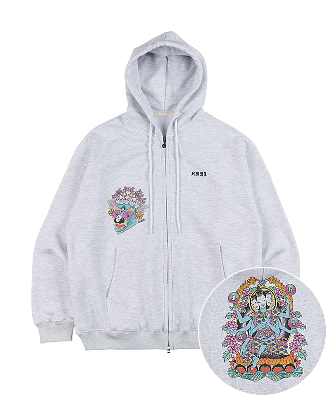 [SUZANI] HINDU GRAPHIC ZIP UP HOODIE [WHITE MELANGE]