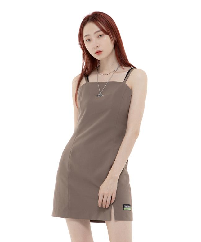 BASIC SLEEVELESS MINI DRESS [MOCHA BROWN]