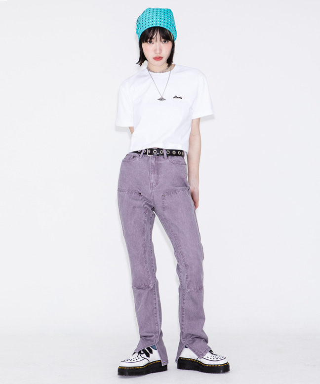 TWILL COTTON SLIM BOOTS CUT PANTS [PURPLE]