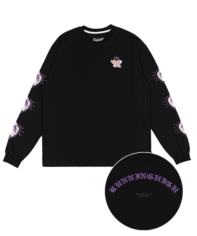 [SUZANI] MEXICAN HEART L/S TEE [BLACK]
