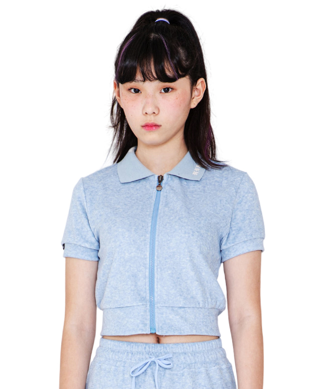 TOWEL FABRIC COLLAR ZIP UP TOP [SKY BLUE]