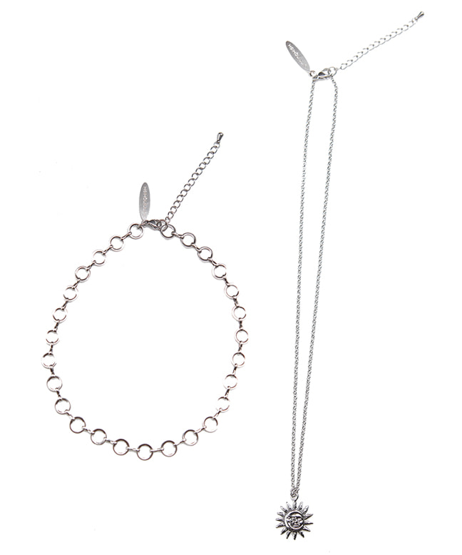 SURGICAL STEEL SUN&MOON NECKLACE + O-RING CHOKER SET