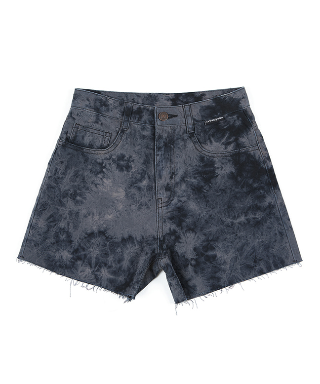 BLEACH WASHED DENIM SHORT PANTS [BLACK]