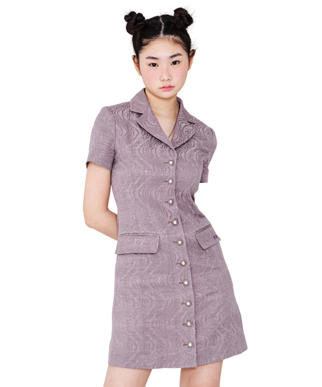 FLOWER-CHAIN JACQUARD BLAZER DRESS [MAUVE]