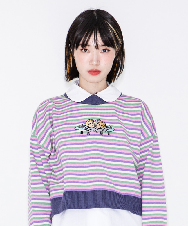 ANGEL EMBROIDERY STRIPE CROP SWEATER [DARK PURPLE]